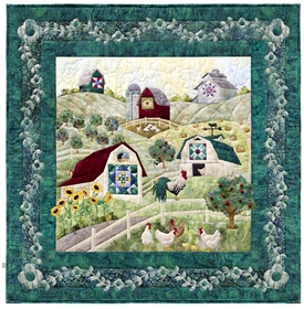 Quilt block that shows a large working farm, and introduces the friendly animals that live there.