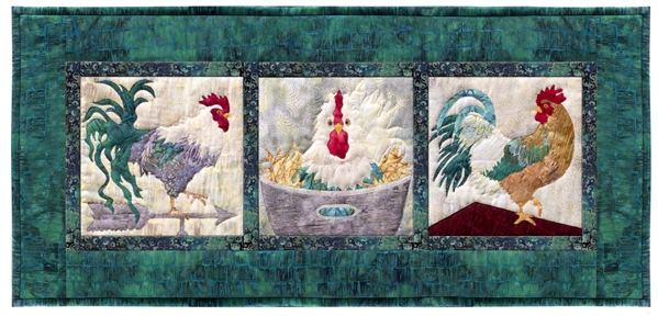 One segmented quilt block showing three rooster scenes.