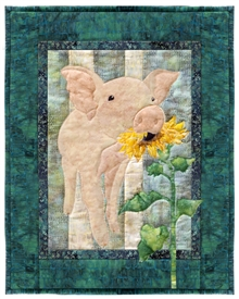 Quilt block of Elmer the Pig.