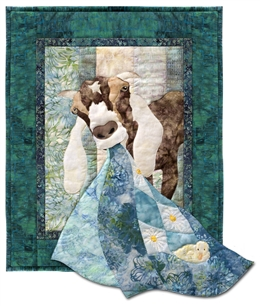 Quilt block of Gertie the Goat.