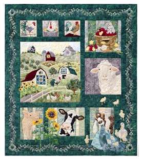 Full quilt image of the farm, with Fran, Elmer, Gladys, Gertie, and Margie.