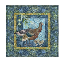 Quilt block of a mama turkey and her chicks