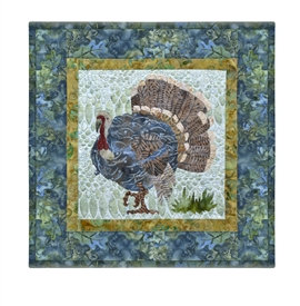 Quilt block of a tom turkey