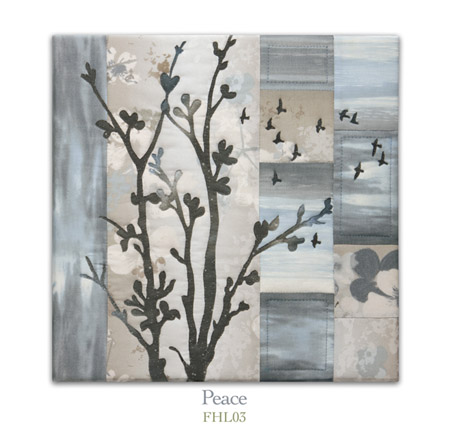 Quilt block with stylized tree and flock of birds flying in neutral floral patterns