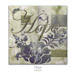 "Quilt block with the word ""Hope,"" stylized flowers and a catepillar in earthy floral patterns"