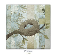 Quilt block with stylized bird watching a nest with eggs on a tree branch in earthy floral patterns