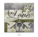 "Quilt block with the word ""Love,"" stylized flowers and birds in earthy floral patterns"