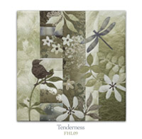 Quilt block with stylized bird on a tree branch and dragonfly in earthy floral patterns