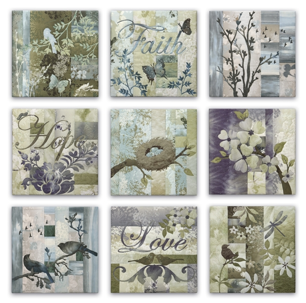 "Set of nine quilt blocks showing stylized flowers, birds, and insects, along with the words ""Faith,"" ""Hope,"" and ""Love"""