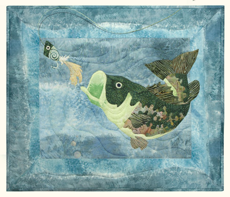 Quilt block of a big mouth bass closing in on a fisherman's fly.