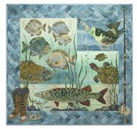 Full quilt image includes bass, pike, turtles, fishing boots, and a fishing pole, along with embroidered fishing license detail.