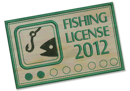 Fishing License Embroidery File