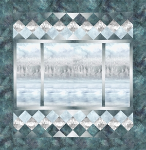 A peaceful view out of a picture window quilt, over water and to the forest on a wintry day