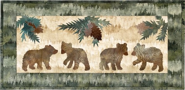 four little bears hanging out in the woods, a single applique quilt block