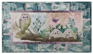 Quilt block of an owl resting on a log, near two nervous bunnies, while a butterfly flutters unconcerned