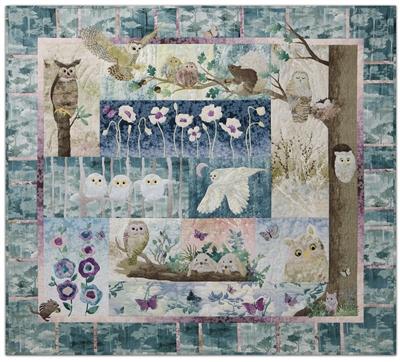 Quilt showing  family of owls in one corner of a forest, with neighboring chipmunks, squirrels, and bunnies.