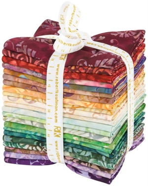 A selection of ten Bella Vita fabrics, folded into fat quarters and bundled.