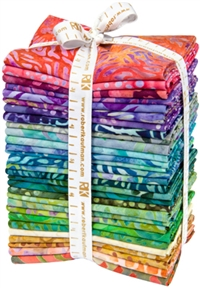 Selection of TigerFish fabrics, folded into fat quarters and bundled.