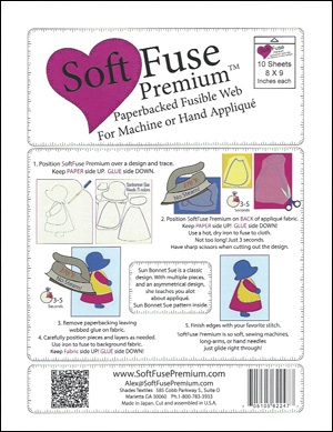 "Image shows package containing 10 sheets of 8"" x 9"" SoftFuse Premium fusible web"