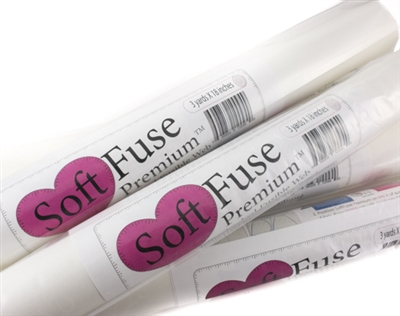 "Image shows package of 18"" by 3-yard roll of SoftFuse Premium fusible web"
