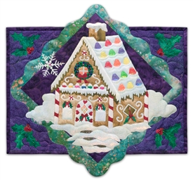 Quilt block of the best kind of house: the kind made out of gingerbread and covered with candy.