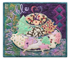 Quilt block of a tiered plate of sugar cookies, chocolate crackle cookies, shortbread cookies with cherries, and cherry pinwheel danish.