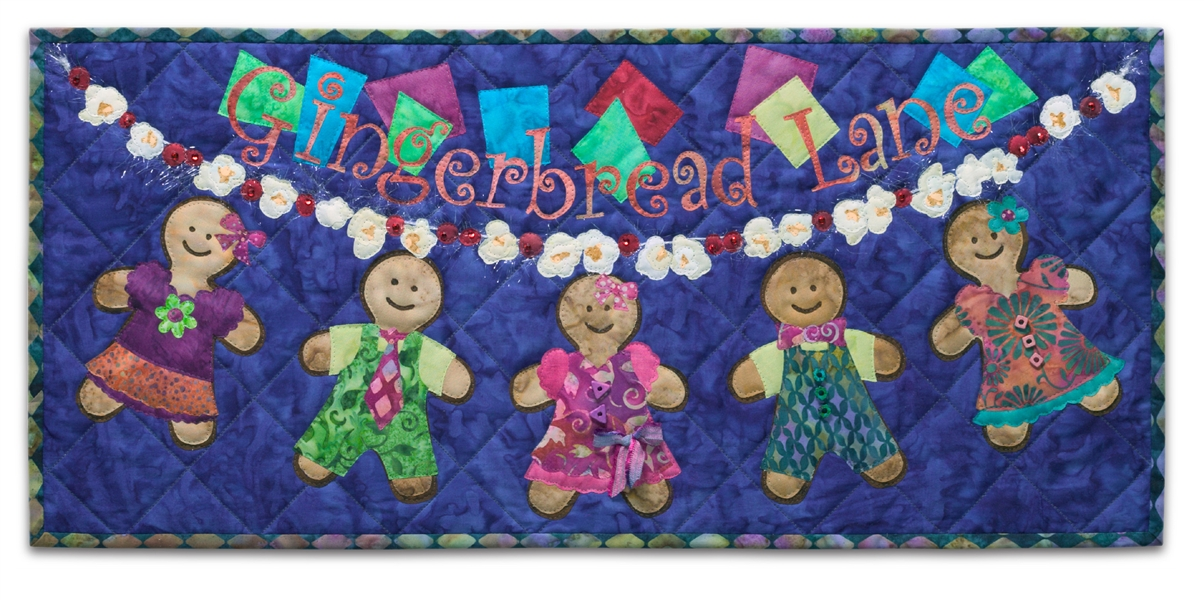 Quilt block of a garland of popcorn, cranberries, and gingerbread people, dressed for the holidays.