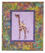 Quilt block of Giraffe and Teddy from block one having a snack and thinking about life