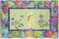 Quilt block of Giraffe and Teddy from block one playing in a field of purple coneflower