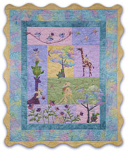 Baby Quilt of Teddy Bear, Giraffe, Bunny, Turtle, and blue birds, having a ball and being friends.