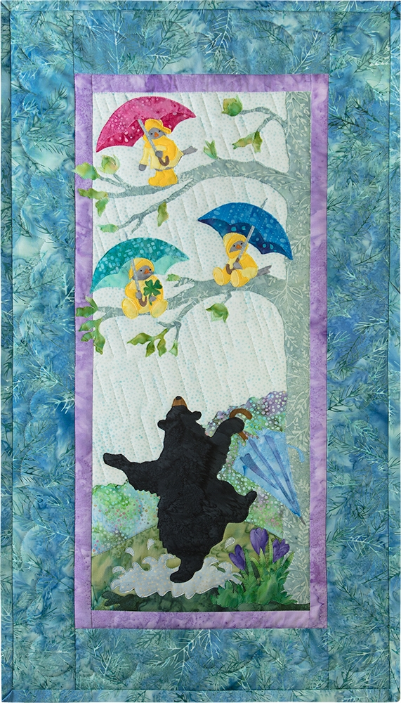 Mama bear dancing in the rain under a tree full of birds in yellow raincoats under colorful umbrellas