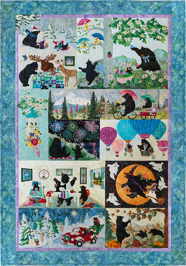 A 12 block quilt with each month of the year represented in the blocks!