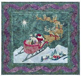 Quilt block of Santa guiding his reindeer through the sky over a sleeping village in the dead of night, towards the North Star.