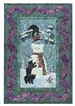 Quilt block of three black bear cubs making a snowman, complete with scarf and magic hat.