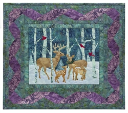 Quilt block of a buck and a doe sharing the holiday season with their brand new fawns in the snowy woods.