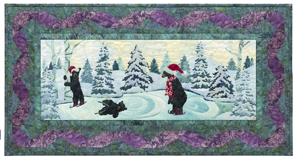 Quilt block of three black bears ice skating on a frozen pond. Well, one is holding on to a tree on the edge of the pond, and the second has just fallen down. But the third one is doing okay.