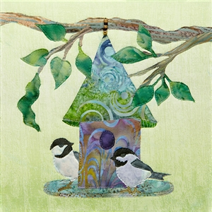 a fabric panel with a birdhouse and two black cap chickadees