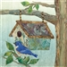 a fabric panel with a birdhouse and a bluebird