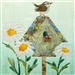 a fabric panel with a birdhouse, a wren, and shasta daisies