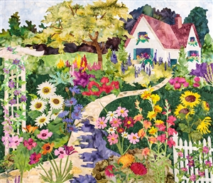 Quilt block of a blooming English garden and cottage.