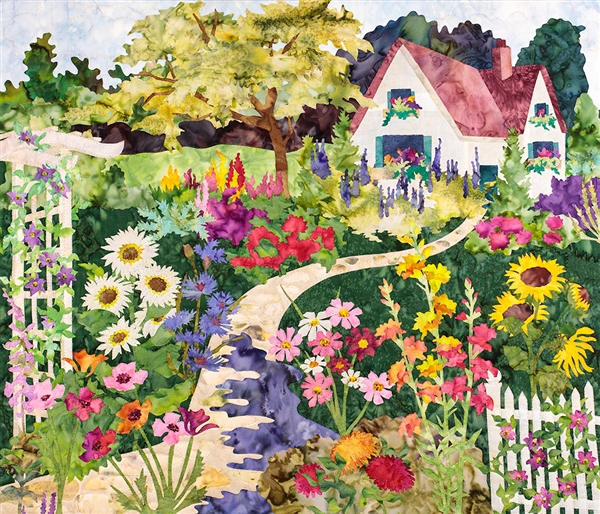 A fabric at print of a blooming English garden and cottage.