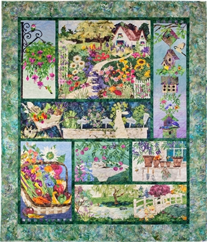 In Full Bloom Panel Pieced Quilt Pattern