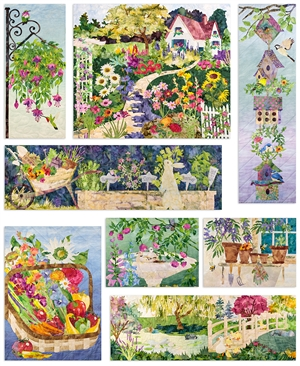 Full quilt image of an English cottage and the garden and grounds.