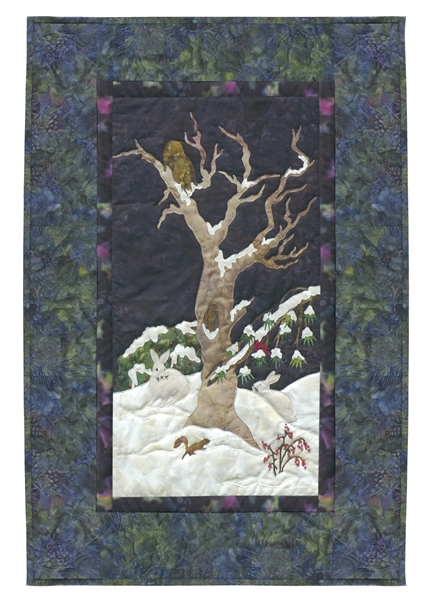 An owl, a squirrel, and a pair of bunnies spend a snowy night in the old tree.
