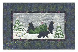 Three black bears decorate trees with colored lights.