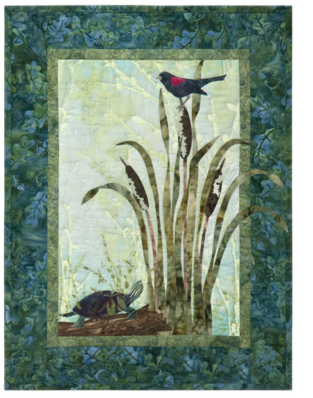 A blackbird sings to a turtle, from atop the bullrushes.