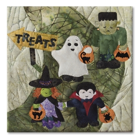 Best ghoul friends forever Frank, Spooky, Fangs, and Wanda out trick or treating with pumpkin shaped candy buckets. Laser Kit.