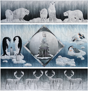 a five block quilt with arctic snowy scenes polar bears, caribou, penguins, puffins and seals, and a wise owl in a tree