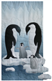 a single block quilt with an arctic snowy scene, ice floes and a pair of penguins looking down at their chick