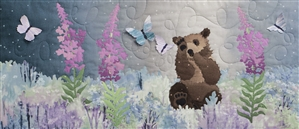 Brown bear cub playing with butterflies in a field of wildflowers. Laser Kit.